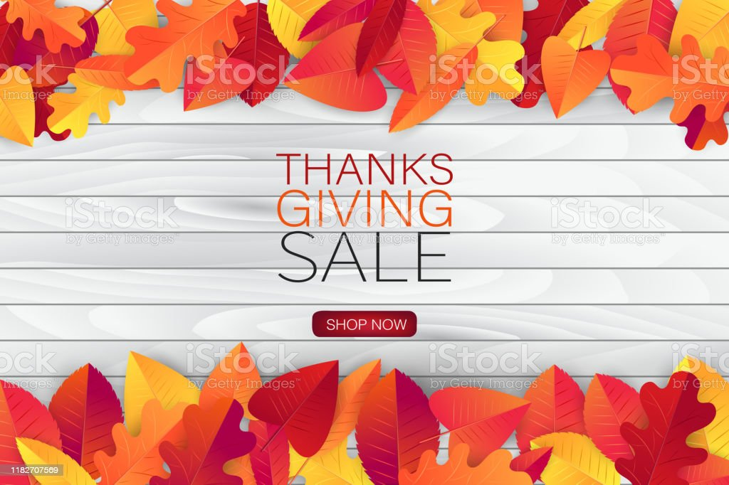 Thanksgiving Sale Poster Background With Red And Orange Fall Leaves On Wooden Board American Traditional November Holiday Banner For Advertisement Promotion Invitation Vector Illustration Stock Illustration Download Image Now Istock