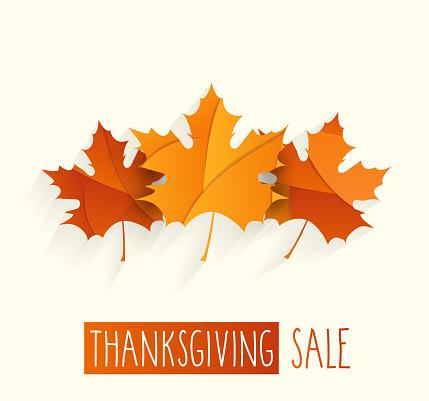Thanksgiving sale poster. Handwritten text. Vector illustration.