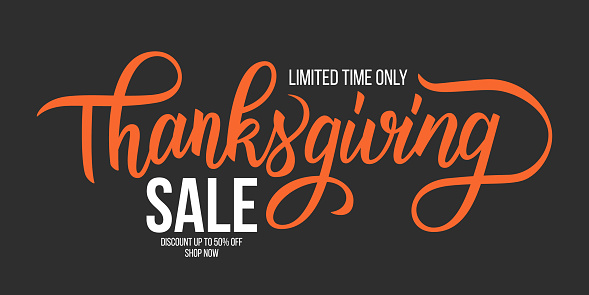 Thanksgiving Sale promotional banner template with hand lettering. Creative typography for business, thanksgiving day sale promotion and advertising.