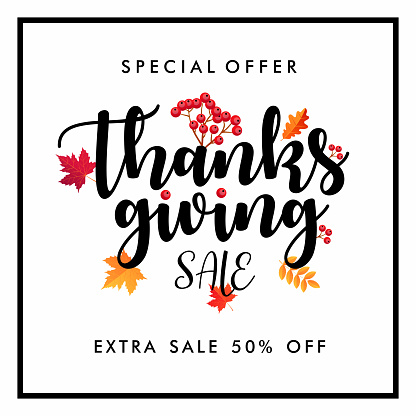 Thanksgiving Sale Square Banner. Vector illustration template