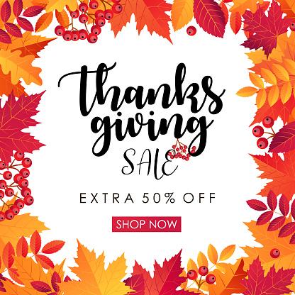 Thanksgiving Sale Square Banner - vector illustration