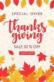 Thanksgiving Sale Banner - vector illustration