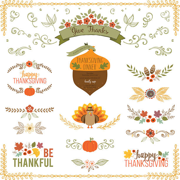 Thanksgiving set Autumn and Thanksgiving set with turkey, fall leaves, floral motifs, pumpkin, acorn, wreath, laurels and banner. autumn borders stock illustrations