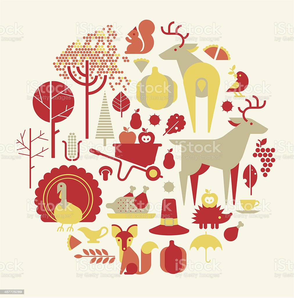 Thanksgiving silhouettes royalty-free stock vector art