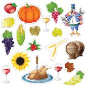 Thanksgiving stickers elements