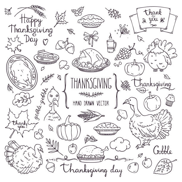 thanksgiving symbols linear illustrations, lettering clip art collection. hand drawn elements for festive flyer, poster, banner, invitation design templates. isolated on background. - thanksgiving turkey stock illustrations