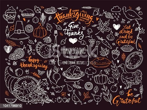 Thanksgiving traditional symbols. Hand drawn design elements, illustrations, handwritten lettering. Vector collection for banner, congratulation card, invitation, poster: pumpkin pie, turkey, corn etc. Isolated clipart on background.