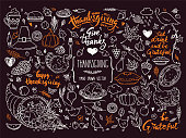 Thanksgiving Symbols Linear Illustrations, Lettering Clipart Collection. Hand Drawn Elements For Festive Flyer, Poster, Banner, Invitation Design Templates. Isolated On Background.