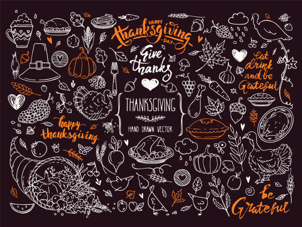 thanksgiving symbols linear illustrations, lettering clipart collection. hand drawn elements for festive flyer, poster, banner, invitation design templates. isolated on background. - thanksgiving stock illustrations