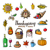 Fall season sketchy pictograms. Turkey, corns, wine, sunflower, pumpkin and pie doodle style drawing with offset effect. Vector illustration.