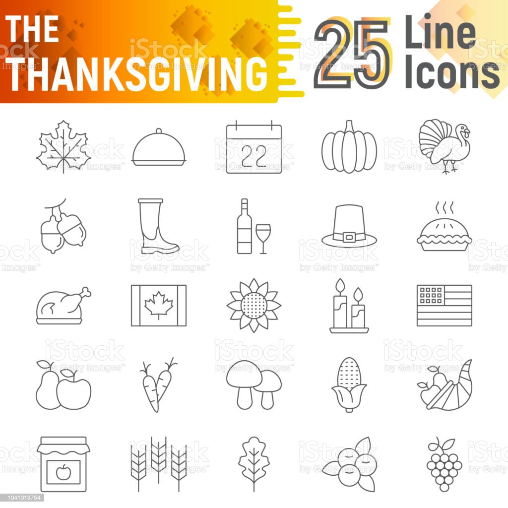 Thanksgiving Thin Line Icon Set Holiday Symbols Collection Vector