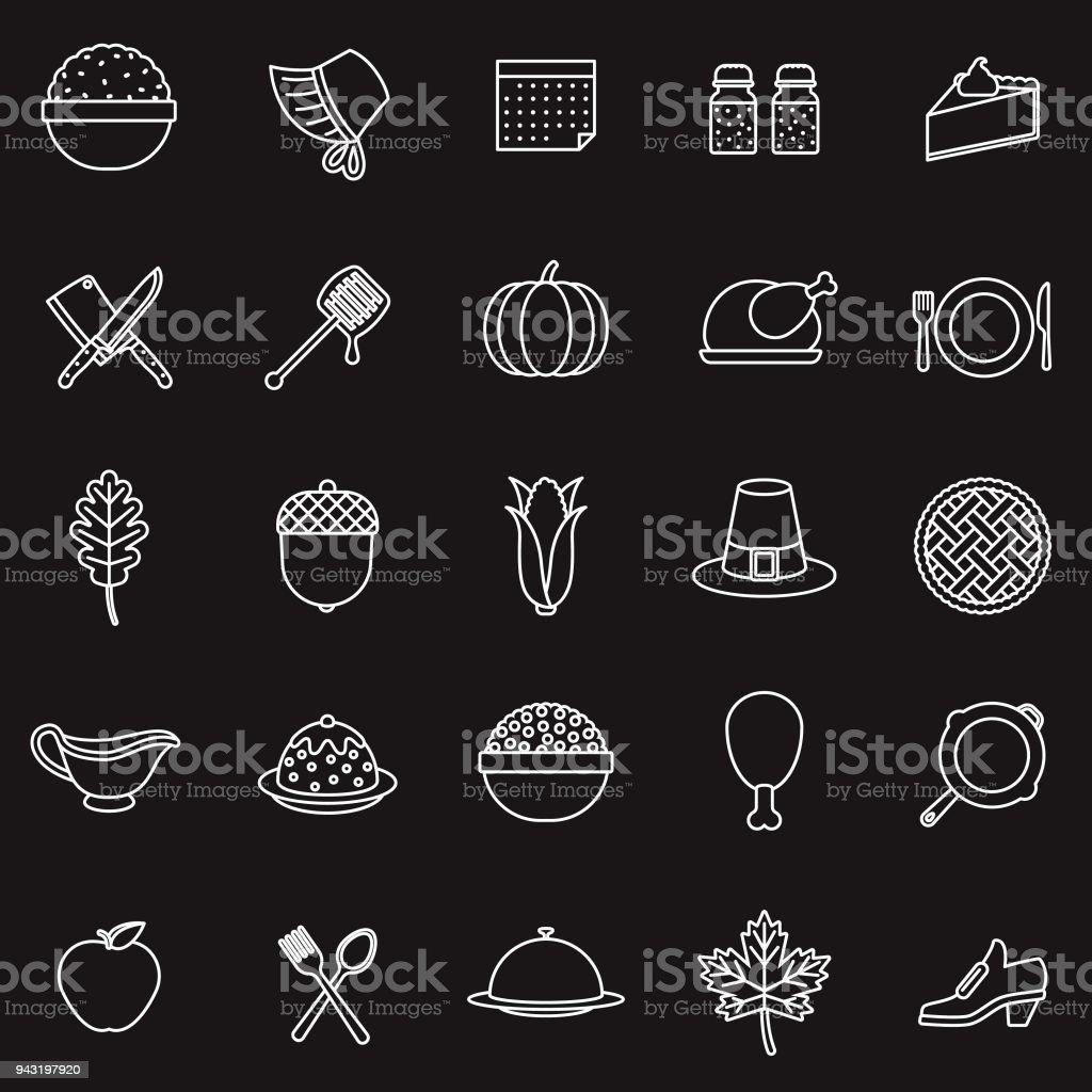 Thanksgiving Thin Line Icon Set vector art illustration