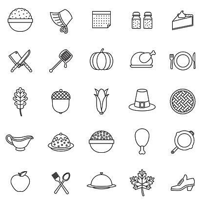 Thanksgiving Thin Line Icon Set