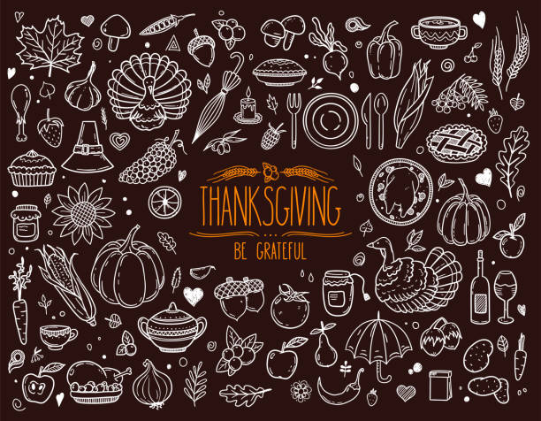 thanksgiving traditional holiday symbols: pumpkin, turkey, pie and other. - thanksgiving turkey stock illustrations