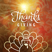 Celebrate the Thanksgiving Day with turkey cartoon icon on background of sunbeam and autumn leaves
