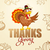 Celebrate the Thanksgiving Day with turkey cartoon characters on the symbol background of acorn, leaves and pumpkins