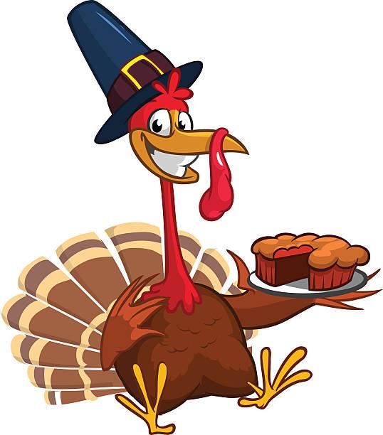 illustrazioni stock, clip art, cartoni animati e icone di tendenza di thanksgiving turkey chief cook serving pumpkin pie. vector cartoon - tavola imbandita