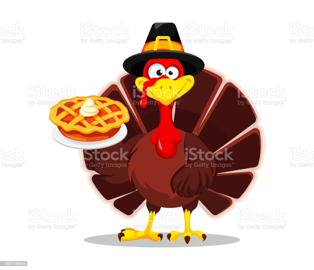 Happy Thanksgiving Greeting Card Poster Or Flyer For Holiday Thanksgiving Turkey Holding Tasty Pie Vector Illustration On White Background Stock Images Page Everypixel