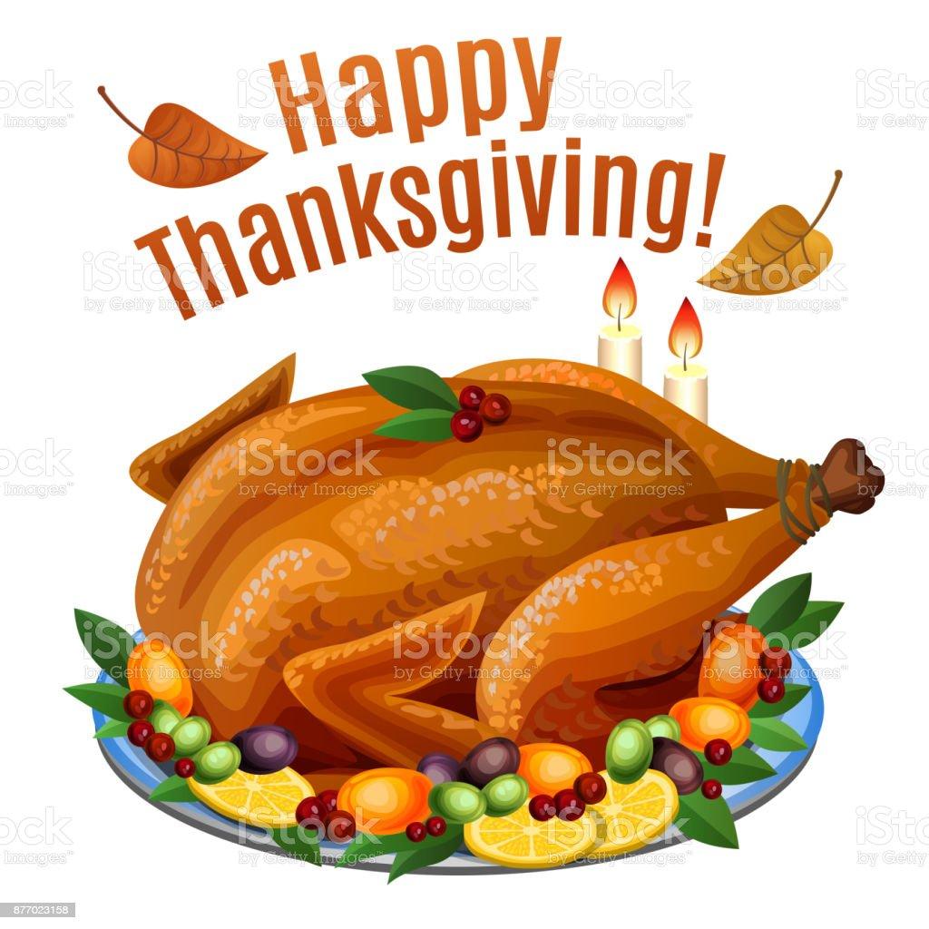 Thanksgiving Turkey On Platter With Garnish Roast Turkey Dinner Vector Illustration Royalty