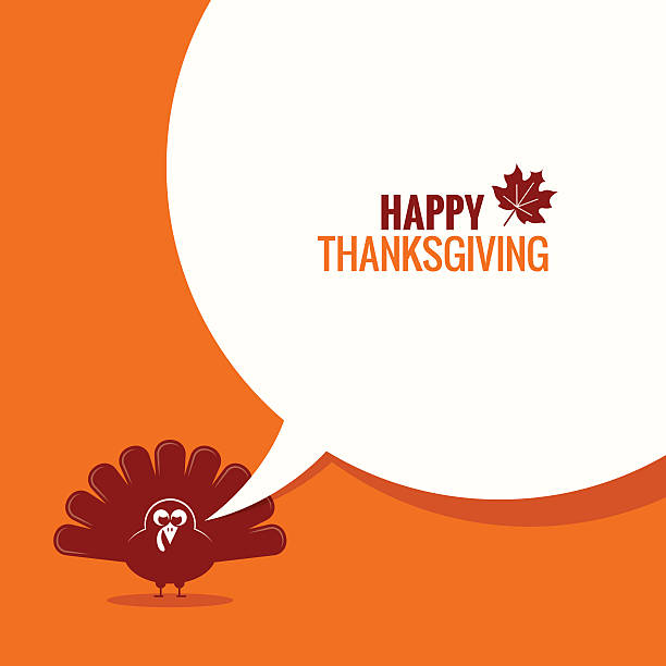 ilustraciones, imágenes clip art, dibujos animados e iconos de stock de thanksgiving turkey speech bubble background - thanksgiving turkey