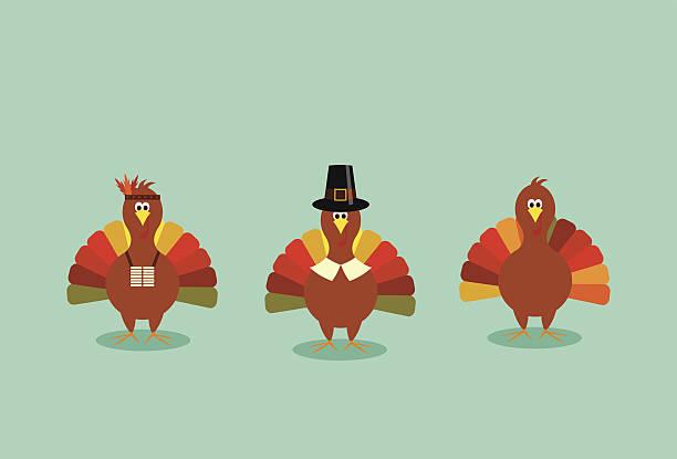 święto dziękczynienia turcji trio - turkey stock illustrations