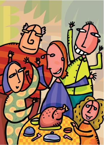 Индейка Ко Дню Благодарения С Семьей В Домашних — стоковая векторная графика и другие изображения на тему Близость