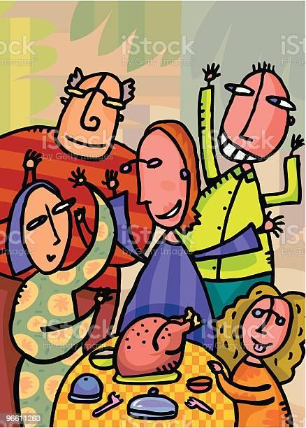 Thanksgiving Turkey With Family At Home-vektorgrafik och fler bilder på Barn