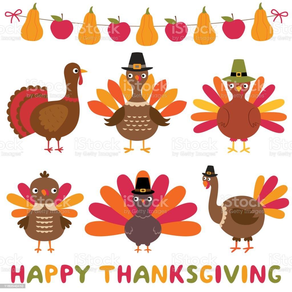 Pavos y decoración de Acción de Gracias, conjunto de elementos de diseño aislados - arte vectorial de Animal libre de derechos