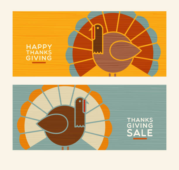 thanksgiving truthähne und text-designs. vektor-design-elemente. - stehkarten stock-grafiken, -clipart, -cartoons und -symbole