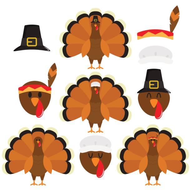 Thanksgiving Turkeys In White Background Turkeys Dressed Up For Thanksgiving turkey stock illustrations