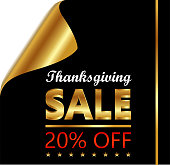 Thanksgiving Day twenty percent sale on a golden and black curled luxury paper.