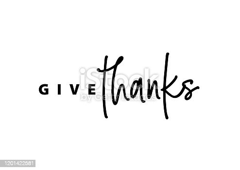 Thanksgiving typography. Give thanks hand painted lettering for Thanksgiving Day. Thanksgiving design for cards, prints, invitations. Black text isolated on white background.