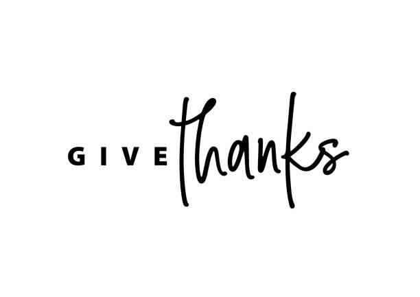 ilustrações de stock, clip art, desenhos animados e ícones de thanksgiving typography. give thanks hand painted lettering for thanksgiving day. - gratidão