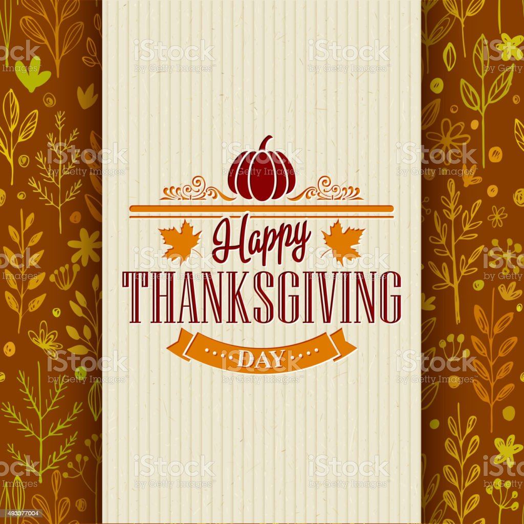 Thanksgiving typography greeting card on seamless pattern. Vector illustration vector art illustration