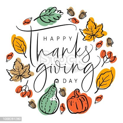 istock Thanksgiving typography poster. Hand drawn lettering with pumpkins, leaves, acorns and berries. For invitations, special offer, flyers, banners and more. 1058281280