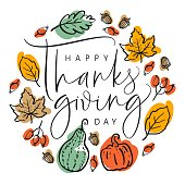 Thanksgiving typography poster. Hand drawn lettering with pumpkins, leaves, acorns and berries. For invitations, special offer, flyers, banners and more.