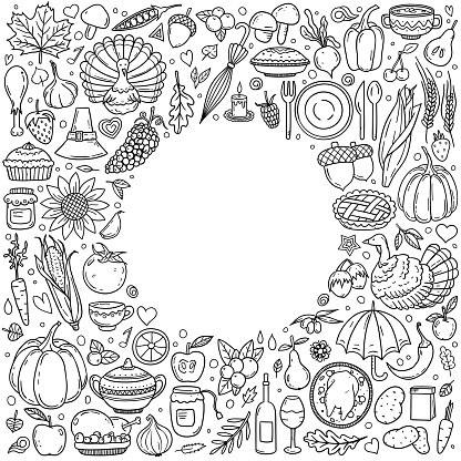 Thanksgiving various symbols and objects arranged as frame