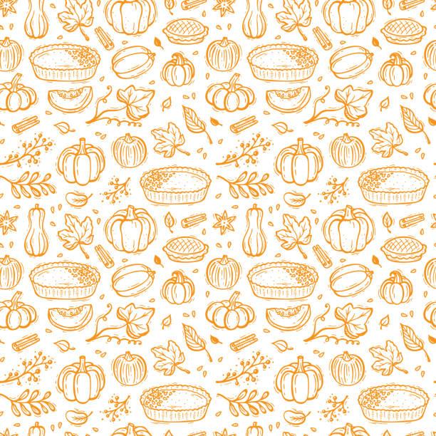 感恩節向量背景。秋季收穫符號無縫圖案。手繪南瓜餡餅, 蔬菜, 不同品種的南瓜, 香料, 樹葉。 - pumpkin pie 幅插畫檔、美工圖案、卡通及圖標