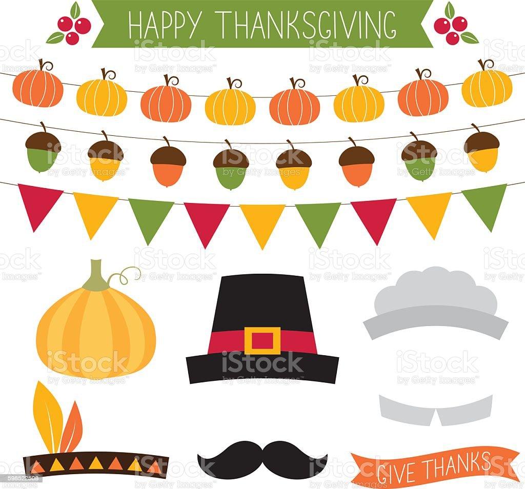 Thanksgiving vector decoration and design elements set vector art illustration