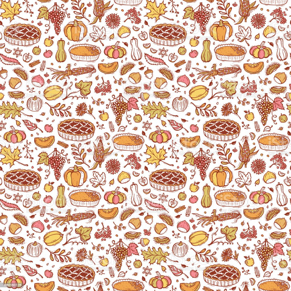 Thanksgiving Vector Food Background Autumn Harvest ...