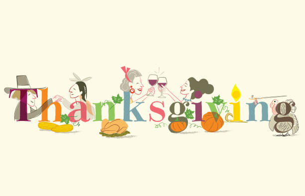 Thanksgiving Text and issues of Thanksgiving Day fruta stock illustrations