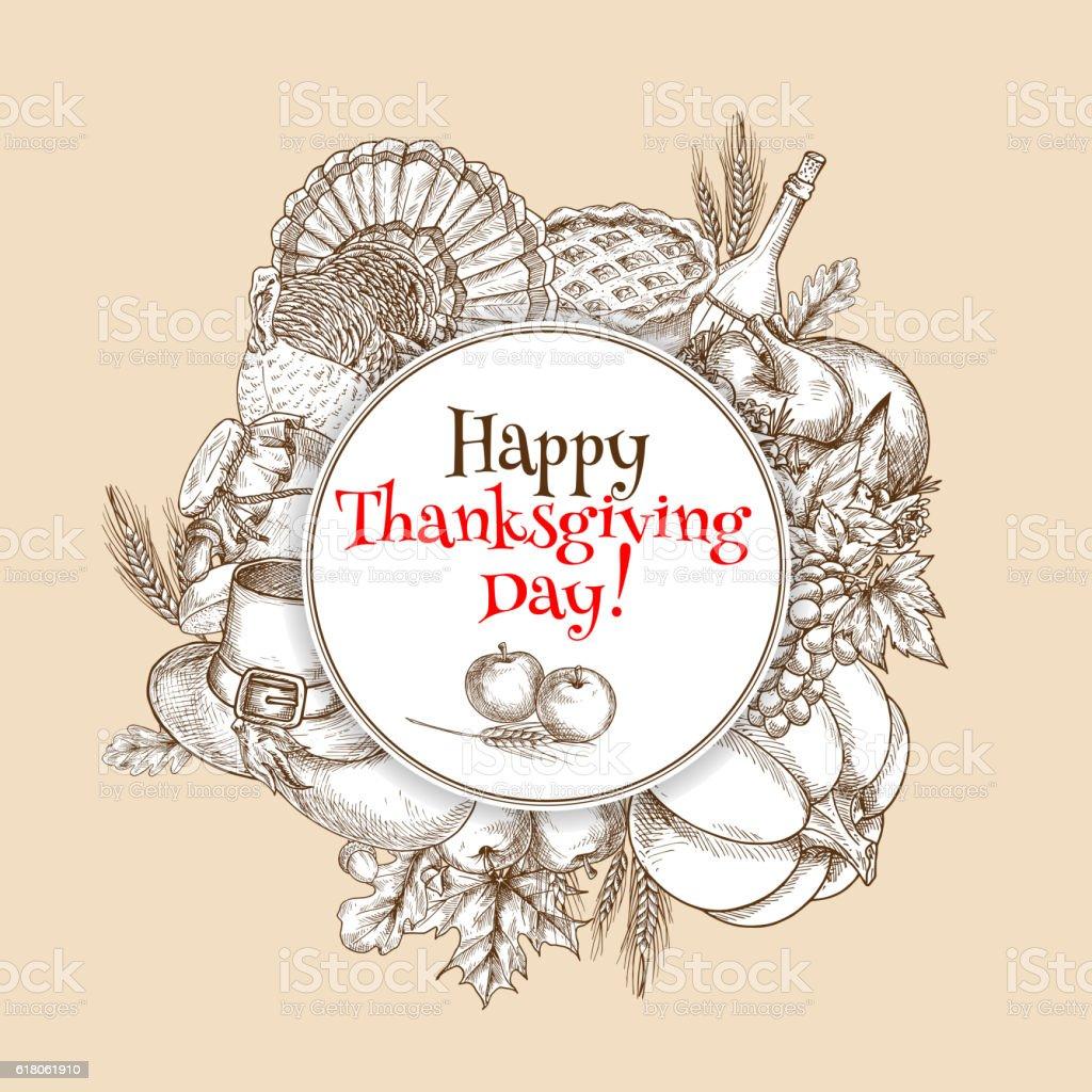 Thanksgiving vector sketch greeting card element vector art illustration