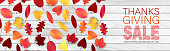 Thanksgiving website header or newsletter advertisement banner. Fall leaves on wooden rustic background. Traditional american holiday design concept. Vector illustration.