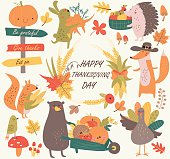 Thanksgiving set with cute forest animals, leaves, mushrooms, fruits and vegetables in cartoon style