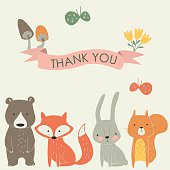 Vector 'Thank you' card with cute bear, fox, hare, squirrel, mushrooms and butterflies in cartoon style