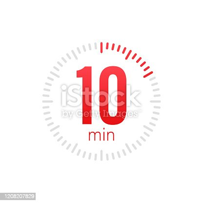 The 10 minutes, stopwatch vector icon. Stopwatch icon in flat style, 10 minutes timer on on color background. Vector stock illustration
