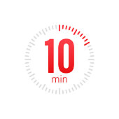 istock The 10 minutes, stopwatch vector icon. Stopwatch icon in flat style, 10 minutes timer on on color background. Vector stock illustration. 1208207829