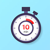 The 10 minutes timer. Stopwatch icon in flat style