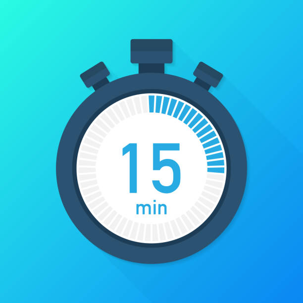 The 15 minutes, stopwatch vector icon. Stopwatch icon in flat style, timer on on color background.  Vector illustration. The 15 minutes, stopwatch vector icon. Stopwatch icon in flat style, timer on on color background.  Vector stock illustration. instrument of time stock illustrations