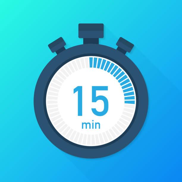 illustrations, cliparts, dessins animés et icônes de les 15 minutes, icône du vecteur chronographe. icône de chronomètre dans un style plat, minuterie sur fond de couleur.  illustration vectorielle. - minuteur
